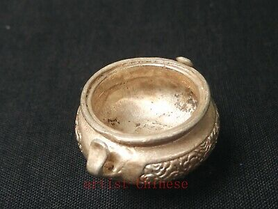 Collection China Tibet Silver Carving Buddha Incense Burner Censer Decoration 5