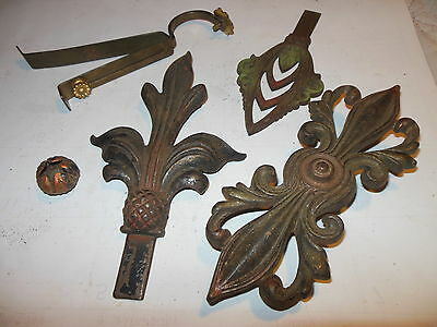 Antique Hardware Art Nouveau Cast Iron Ornate Curtain Rod End Finial Center Part 2