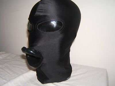 Black Spandex Gimp mask with Latex sissy lips in Red, Black or Pink Size M 4