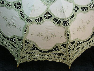 CottonBattenberg Lace Parasol Sage Green and off wht Victorian Edwardian style 3