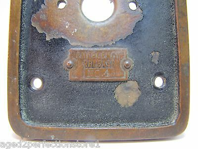 Old EMERGENCY RELEASE No 4 Mount Plate architectural button switch bronze brass 5