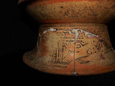 Pre-Columbian Pedestal Urn, Chimney Pot,Polychrome, Nicoya, Very Large 12
