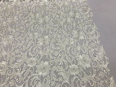 IVORY FLORAL EMBROIDERY GUIPURE LACE FABRIC FRENCH BRIDAL VEIL BY THE YARD