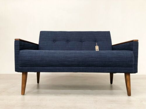 Danish Vintage Inspired Mid Century 50S 2 Seater Cocktail Sofa Settee In Navy 9