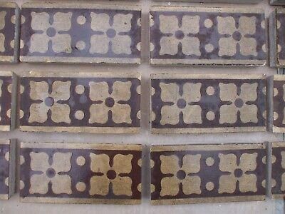 "Antique Victorian Gothic Minton Encaustic Floor Border Tile 6"" x 3"" RARE 1 of 36 4"