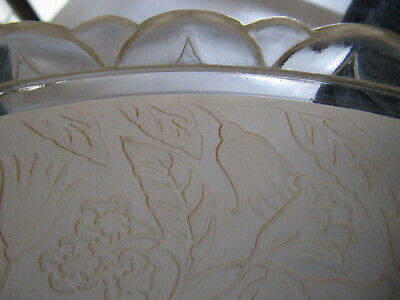 VINTAGE 1930/40'S 3-Hole CHAIN CEILING LIGHT FROSTED EMBOSSED SHADE 6