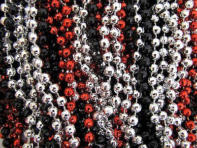 Mardi Gras Beads Black Red Silver Disco 6 dozen Throw 33 in Necklaces 72 Strands 3