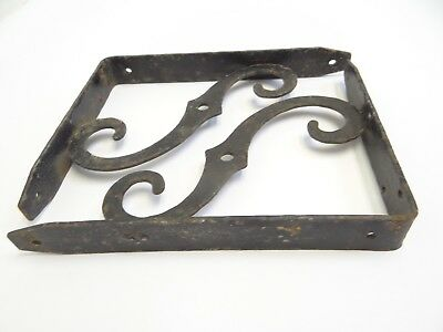 Vintage Pair Used Black Iron Wall Hanging Shelf Brackets Holders Parts 5