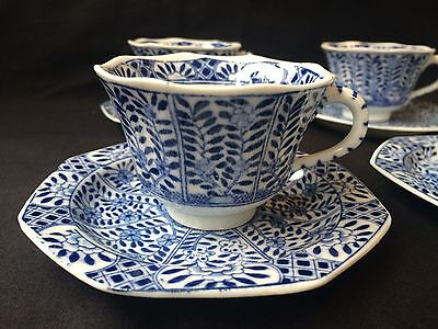 4 19C Chinese Porcelain Cup & Saucer Blue White 'Flowers' Antique Kangxi Marked 4