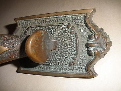 Great antique 19thc  bronze ornate door handle original 3