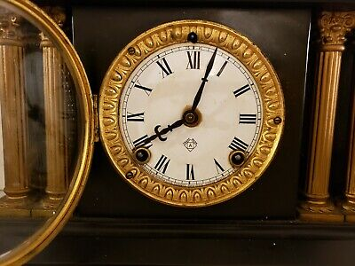 Antique Working 19th C. ANSONIA Victorian Black Iron Pillar Column Mantel Clock 8