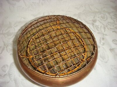 Antique Copper Flower Bowl With Unusual Built-In Screen And Frog