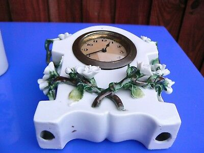 Antique Late Victorian Ceramic Table Clock Set 9