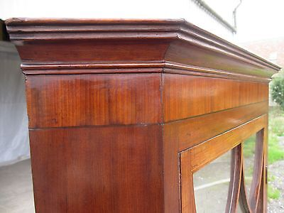Georgian Inlaid Mahogany and Glazed 2 Part Standing Corner Cabinet Cupboard 417 7