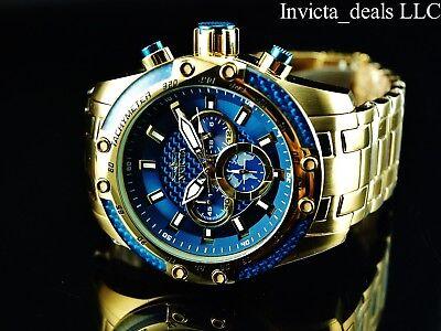 Invicta Men's 50mm SPEEDWAY SCUBA Chronograph Sapphire Blue Gold Tone SS Watch 7