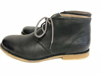 8bbbf209a18 UGG AUSTRALIA LEIGHTON Leather WP Waterproof Desert Boots Black Lace  1017272 sz