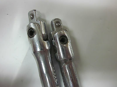 "2pc HERBRAND 1/4"" DRIVE FLEX HEAD BREAKER BAR 23006 USA EXTENSION RATCHET SOCKET 4"