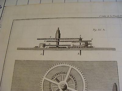"""Original engraving 1760's 10 1/2 x 16"""" EQUATION DE DAUTHIAU 2"""