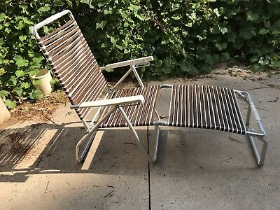 Pleasing Vintage Folding Aluminum Chaise Lounge Lawn Pool Beach Chair Squirreltailoven Fun Painted Chair Ideas Images Squirreltailovenorg