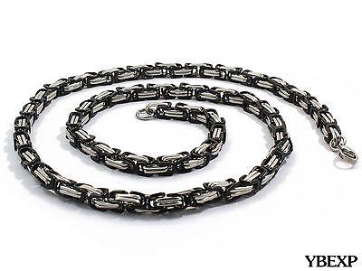 20''-36''Men Stainless Steel Cross Pendant Black Necklace Byzantine Box Necklace 5