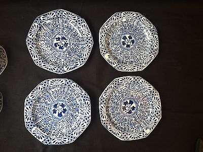 4 19C Chinese Porcelain Cup & Saucer Blue White 'Flowers' Antique Kangxi Marked 5