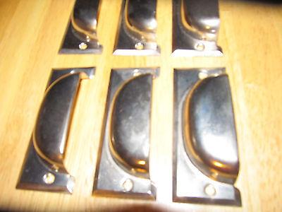 6 vintage drawer pulls bin handles polished steel nickel plated nos cup office 4