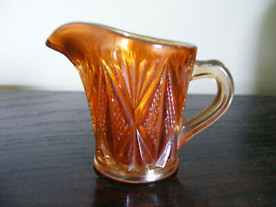 """Carnival   Marigold    Glass   Cream  Or   Milk  Jug    Height   3.1/4""""   Inches 9"""
