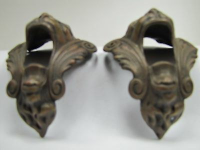 Antique Pair Bronze Monster Beast Lion Head Decorative Architectural Hardware 2 10