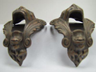 Antique Pair Bronze Monster Beast Lion Head Decorative Architectural Hardware 2