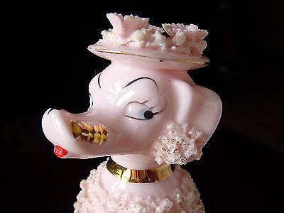 "ViNTaGe 7"" TaLL 1950's PiNK & GoLD Porcelain SPaGHeTTi PooDLe Dog Figurine ~ Hat"