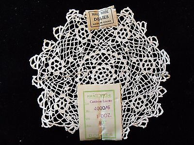 "12 Vtg 5 1/2""-6"" Hand Made Cotton Lace Doilies New Old Stock 1940'S One Dozen 2"