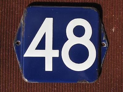 vintage european enamel porcelain number street house door gate sign # 48 3