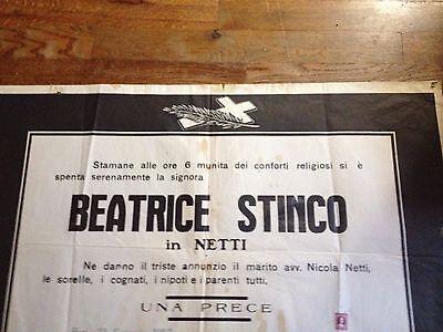 Funeral Poster (1963) La Signora Beatrice Stinco (Husband Nicola Netti) Rare!