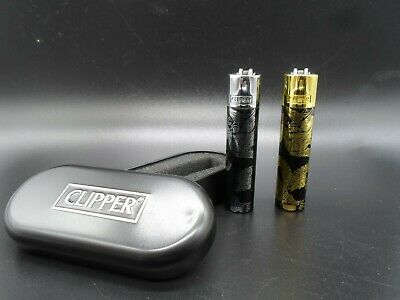 Clipper Metal Lighters With Metal Gift Tin Case Refillable Multi Colors Free Tin 4