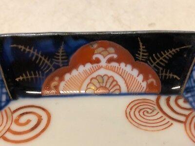 Antique Japanese Imari Porcelain Hand Painted Octagonal Bowl / Ashtray 4