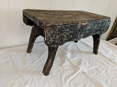 """ANTIQUE WOODEN MILKING STOOL LOTS OF PATINA 16"""" Long by 8"""" Wide by 9"""" Tall 5"""