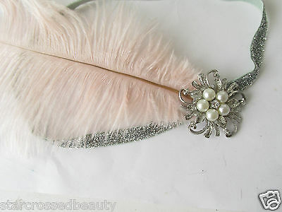 Pink Silver Ostrich Feather Flapper Headpiece 1920s Vintage Headband Pearl k66 5