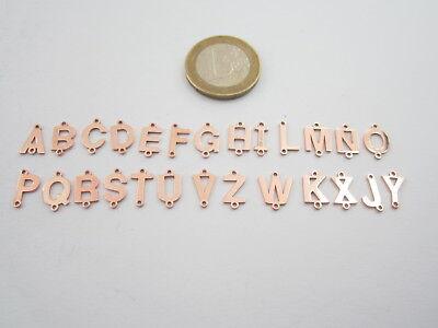 1 connettore 2 fori  lettera F in argento 925 placcato oro rosè misure 11 x 6 mm 2