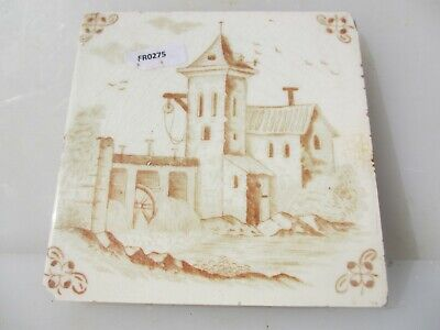 Antique Ceramic Tile Vintage French Village Boats River Windmill Nature Fishing 4