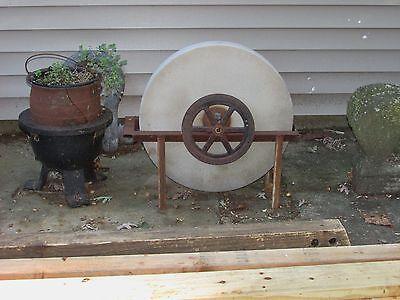 Antique Grinding Stone Wheel Industrial Iron Steampunk Garden Sculpture 11