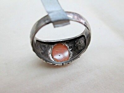 Personal Seal Stone Antique Islamic Yellow Agate Set In Sterling Silver Ring 5