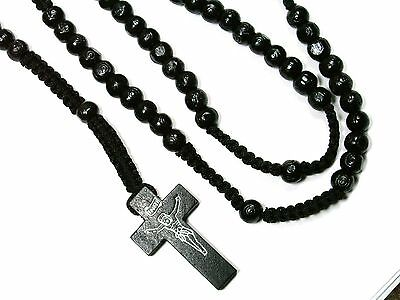 Rosary -black wood Prayer Beads - Crucifix Necklace 3