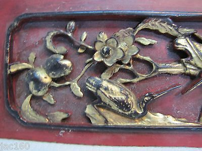 Antique Asian Hand Carved Panel red gold paint flowers birds wall architectural