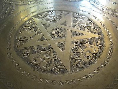 """Gorgeous Antique Persian Islamic Engraved Copper Tray 38""""/ 97cm/ 14lbs 3"""