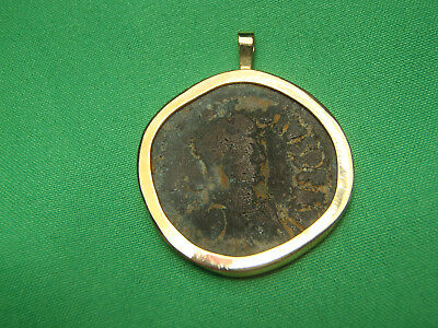 Mounted in 14K Gold Byzantine bronze 491-518AD anastasius 1st AE Follis Coin 2