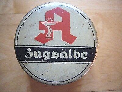 Antike Apotheker Dose Blechdose mit Aufdruck *Zugsalbe* 3