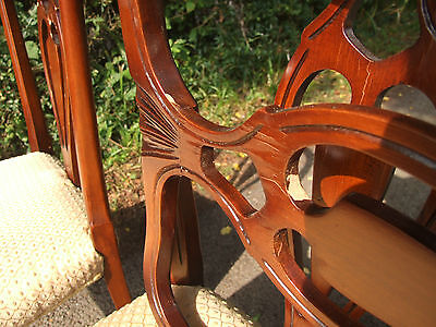 set of 4 wooden chairs, upholstered seats 7