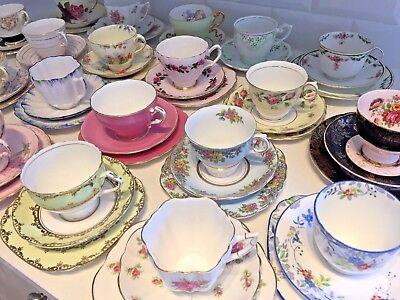 VINTAGE Bone China TEA CUP & SAUCER TRIO Tea Set FLORAL ROSE HARLEQUIN Matching 2