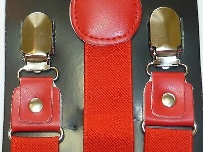 Leather Clip-on Suspenders and BOW TIE Matching Color Elastic Adjustable Braces 5