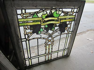 ~ Antique American Stained Glass Window ~ Grapevines ~ Architectural Salvage ~ 3
